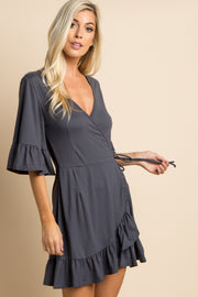 Charcoal Grey Solid Tie Waist Ruffle Wrap Dress