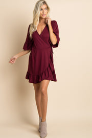 Burgundy Solid Tie Waist Ruffle Wrap Dress