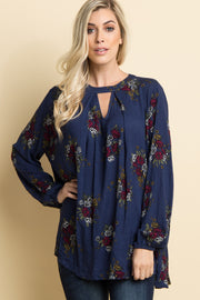 Navy Blue Floral Cutout Front Top