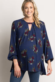 Navy Blue Floral Cutout Front Maternity Top