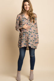 Taupe Floral Ruffle Cuff Button Up Maternity Top