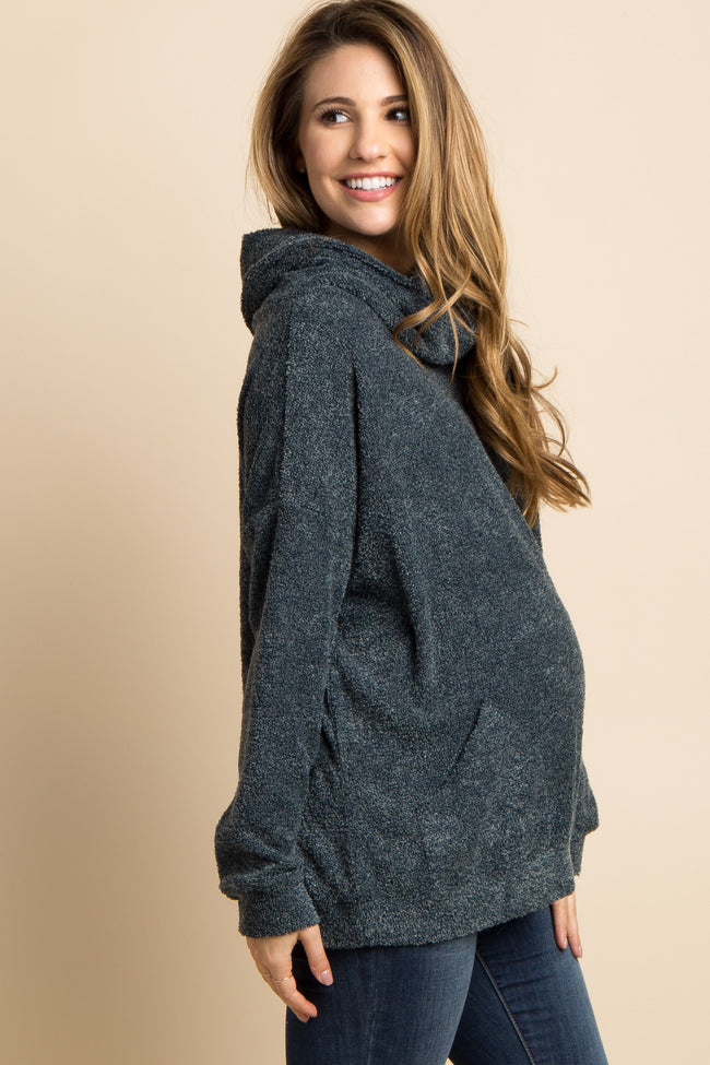 Green Cowl Neck Terry Knit Maternity Sweater