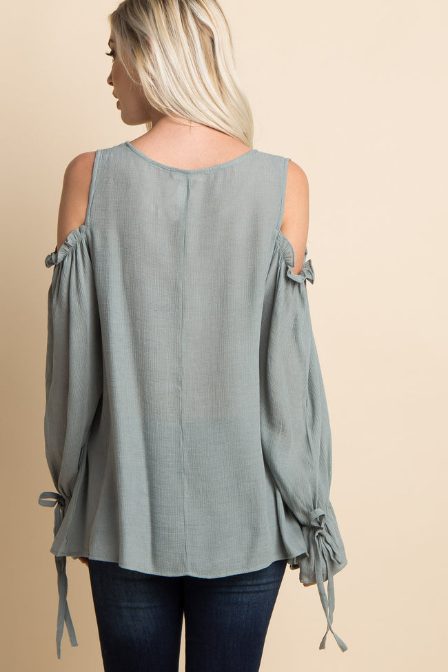Mint Green Cold Shoulder Ruffle Sleeve Tie Top