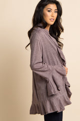 Mocha Ruffle Trim Long Sleeve Cardigan