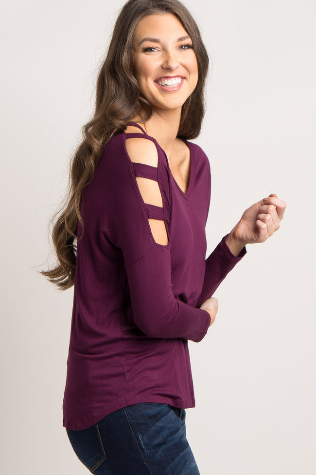 Plum Cutout Open Shoulder Top