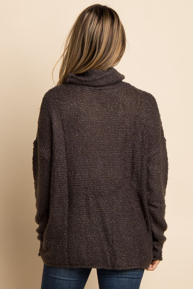 Charcoal Grey Solid Cowl Neck Knit Maternity Sweater