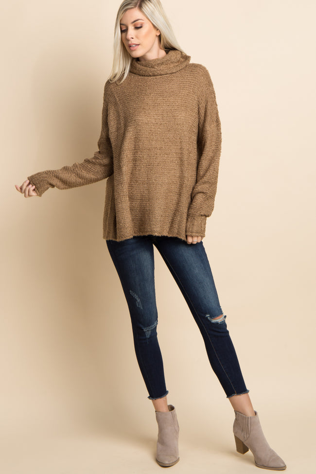Mocha Solid Cowl Neck Knit Sweater