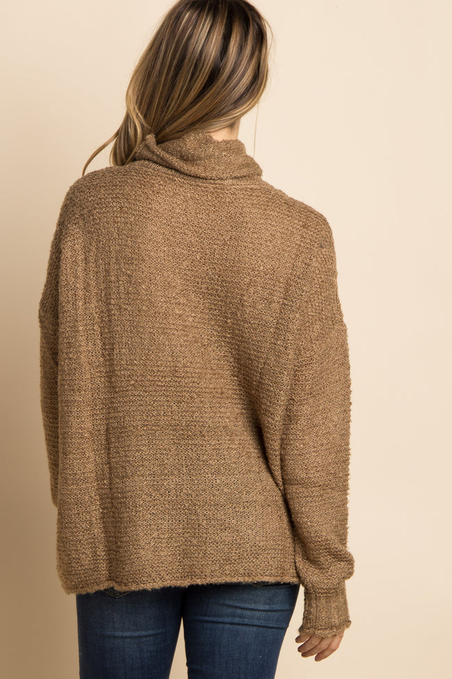Mocha Solid Cowl Neck Knit Maternity Sweater