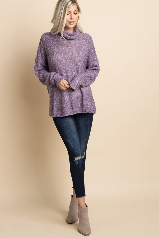 Purple Solid Cowl Neck Knit Sweater