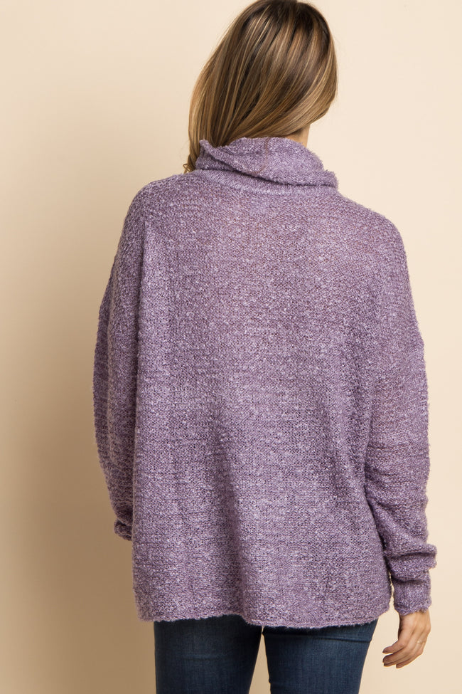 Purple Solid Cowl Neck Knit Maternity Sweater