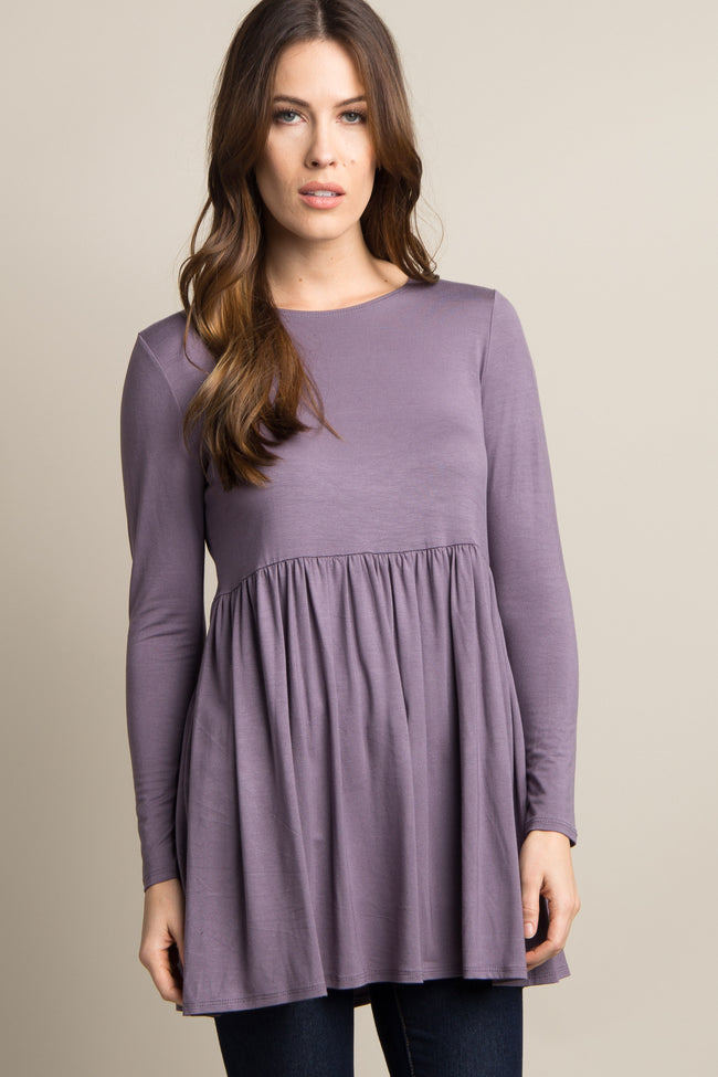 Purple Solid Long Sleeve Peplum Maternity Top