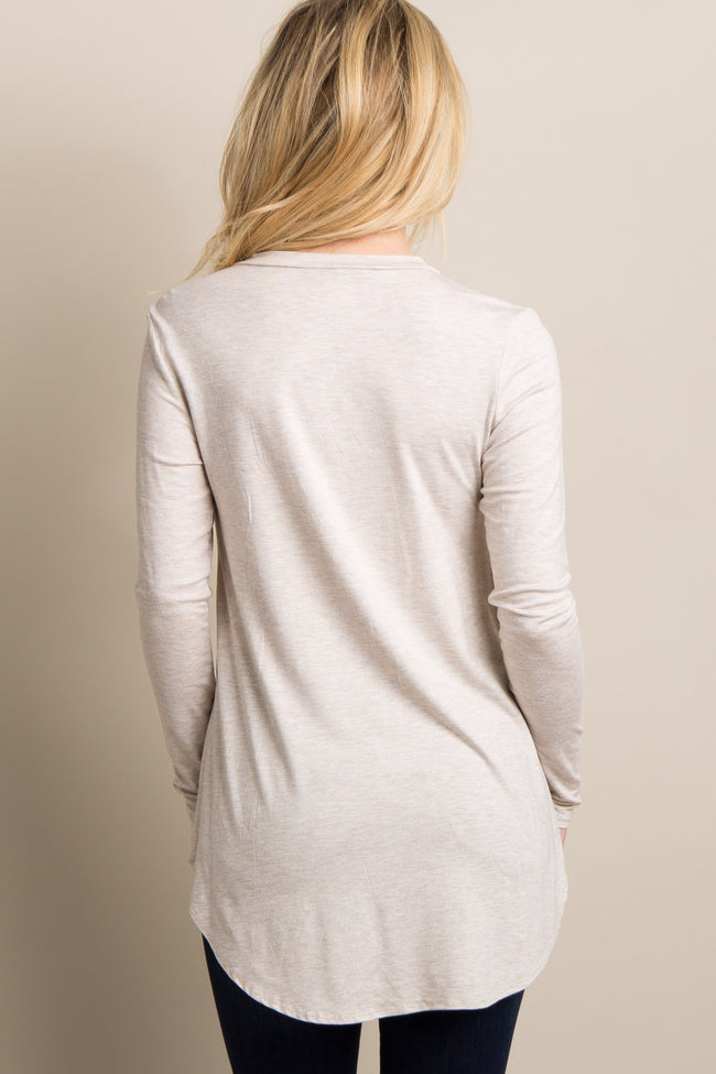 Beige Basic Solid Long Sleeve Top