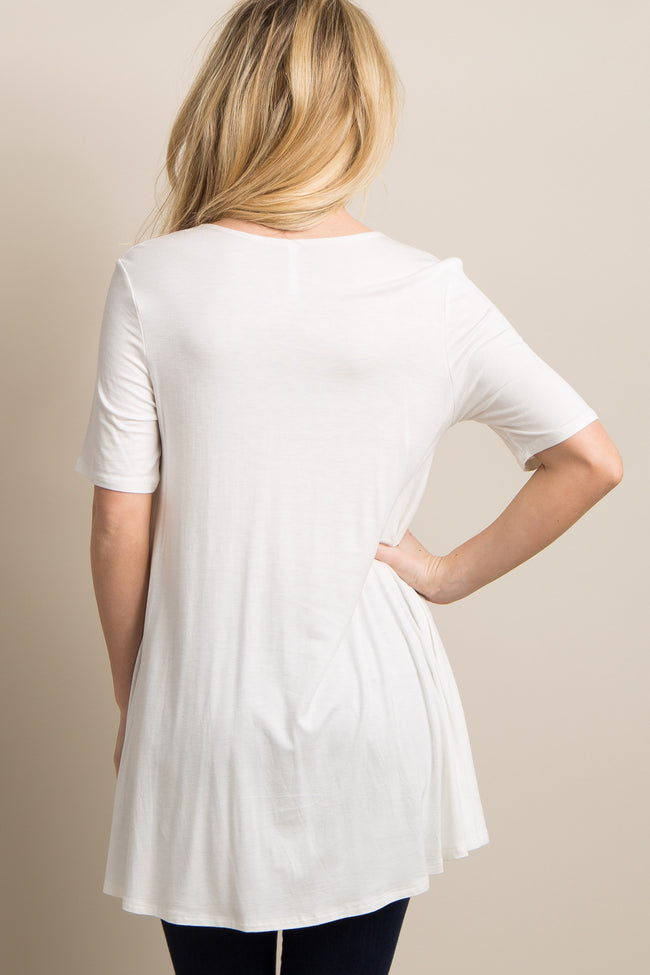 Ivory Basic Short Sleeve Maternity Top