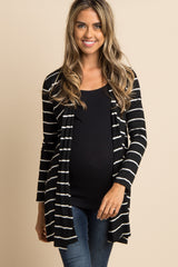 Black Striped Long Sleeve Maternity Cardigan