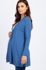 Blue Solid Cardigan
