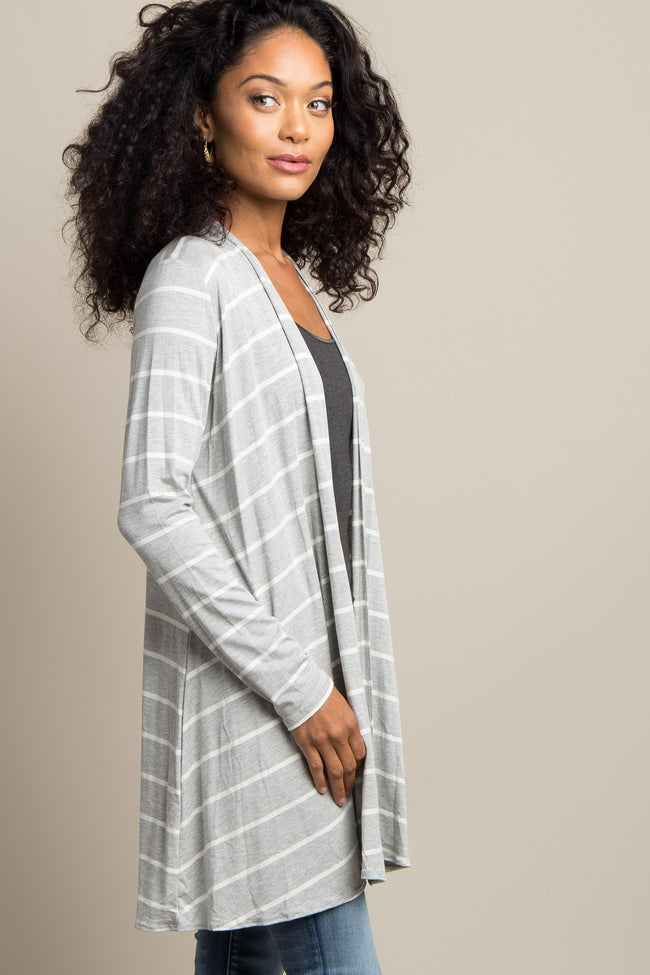 Heather Grey Striped Cardigan