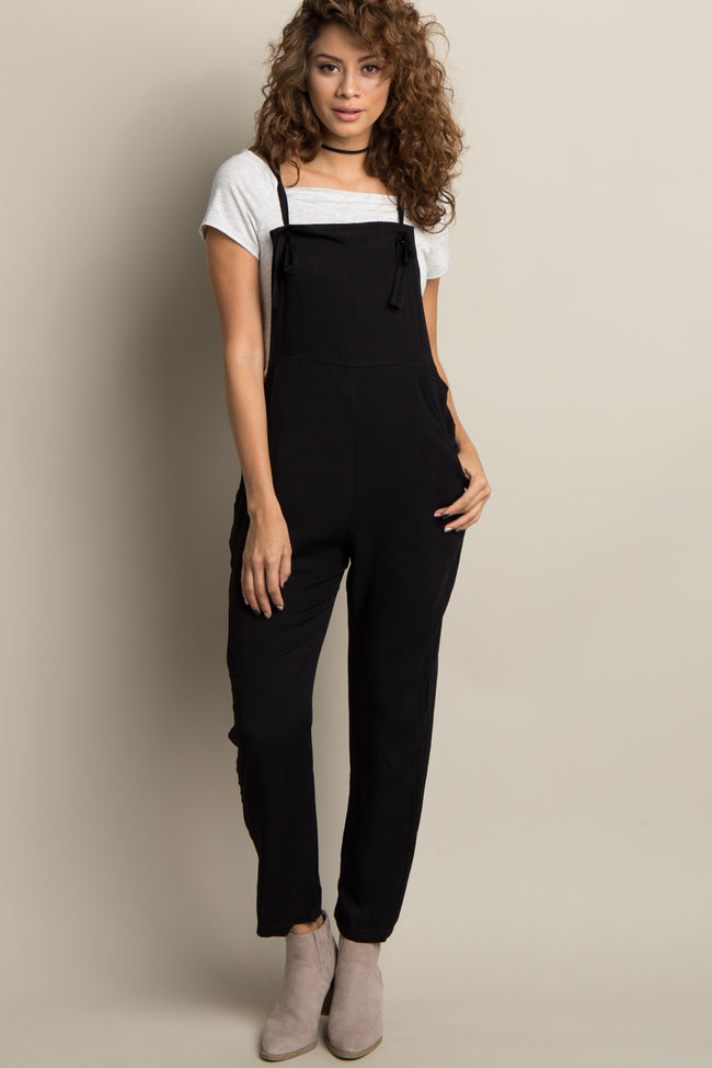 Black Front Tie Maternity Overalls