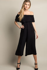Black Solid Ruffle Off Shoulder Maternity Jumpsuit