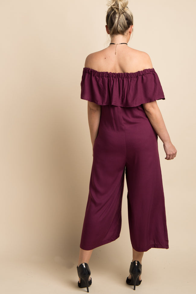 Burgundy Solid Ruffle Off Shoulder Maternity Jumpsuit