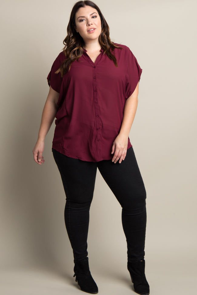 Burgundy Chiffon Button Up Plus Top