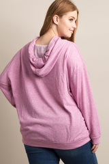 Pink Drawstring Hooded Plus Top