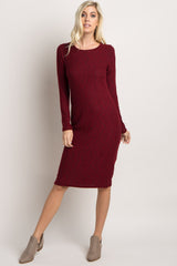 Burgundy Heathered Knit Fitted Midi Dress