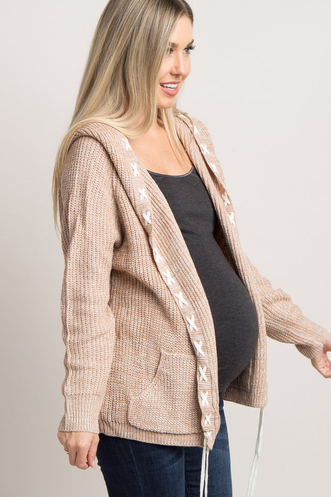 Beige Hooded Lace-Up Trim Knit Maternity Cardigan