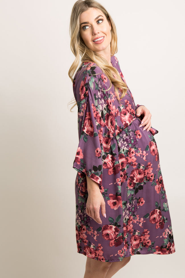 Purple Floral Satin Delivery/Nursing Maternity Robe