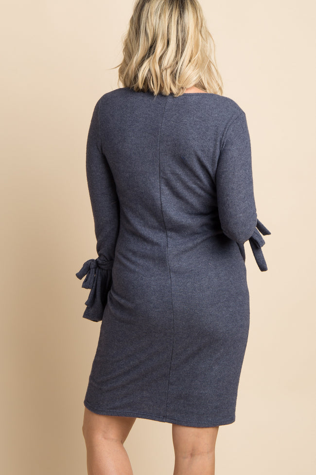 Navy Sleeve Tie Soft Knit Maternity Sweater Dress
