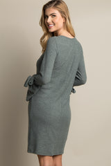 Olive Sleeve Tie Soft Knit Sweater Dress