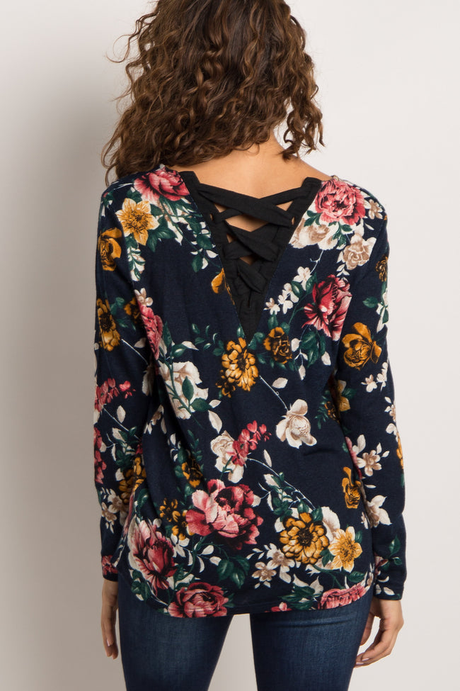 Navy Floral Lace Up Back Top