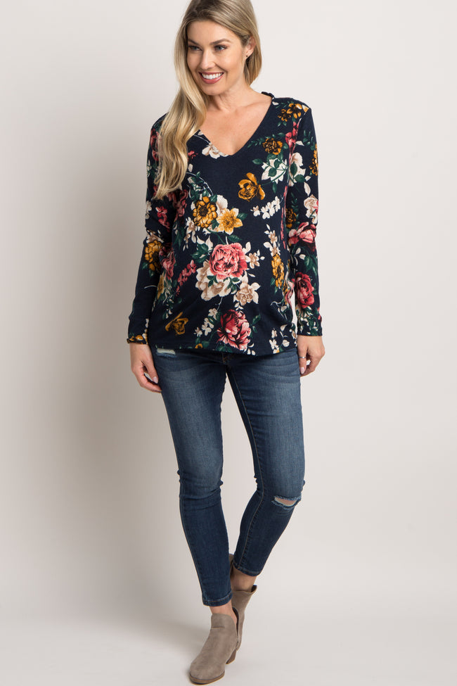 Navy Floral Lace Up Back Maternity Top