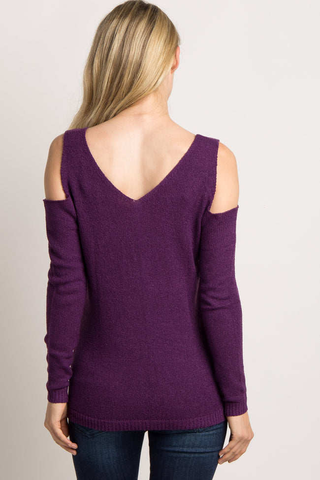Plum Cold Shoulder Maternity Sweater