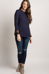 Navy Lace Trim Sleeve Top