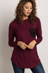 Burgundy Lace Pocket Maternity Top