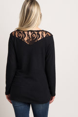 Black Lace Accent Maternity Top