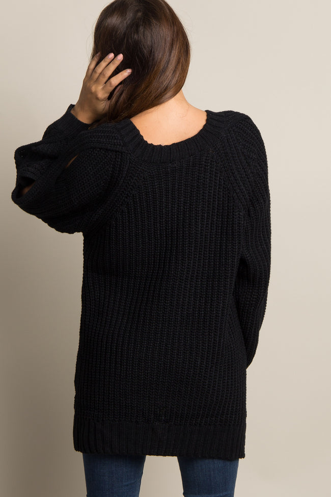 Black Knit Open Sleeve Maternity Sweater
