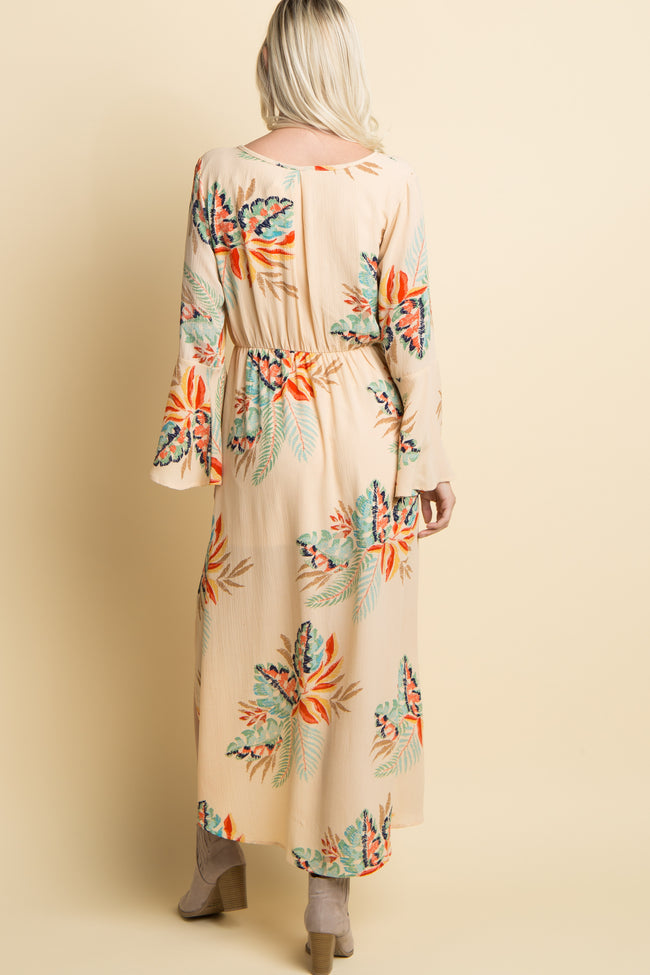 Cream Palm Print Chiffon Bell Sleeve Wrap Maxi Dress
