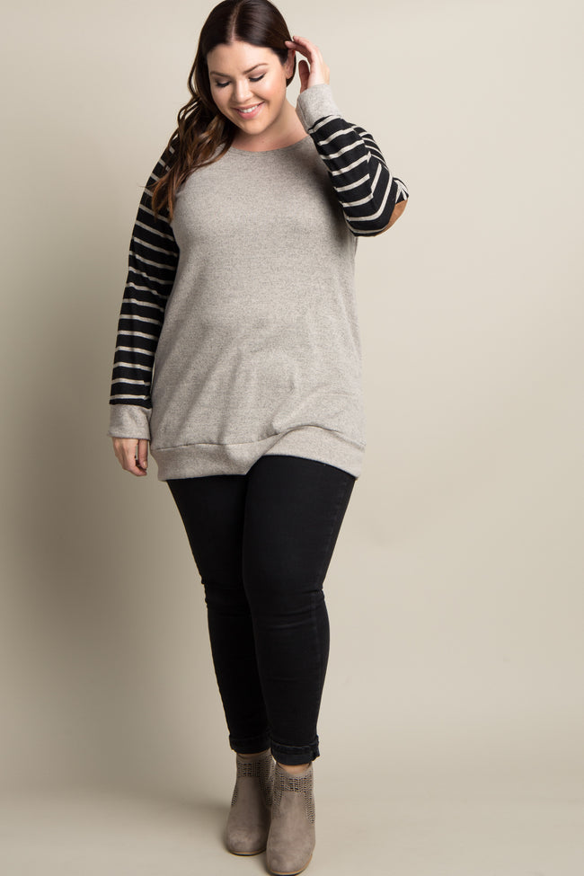 Black Striped Sleeve Suede Elbow Patch Plus Top