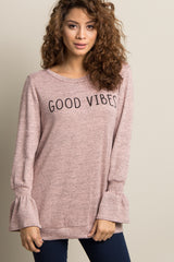 "Light Pink Heathered ""Good Vibes"" Graphic Maternity Top"
