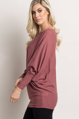 Pink Wide Neck Knit Dolman Sleeve Top