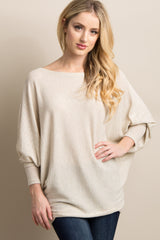 Beige Wide Neck Knit Dolman Sleeve Maternity Top