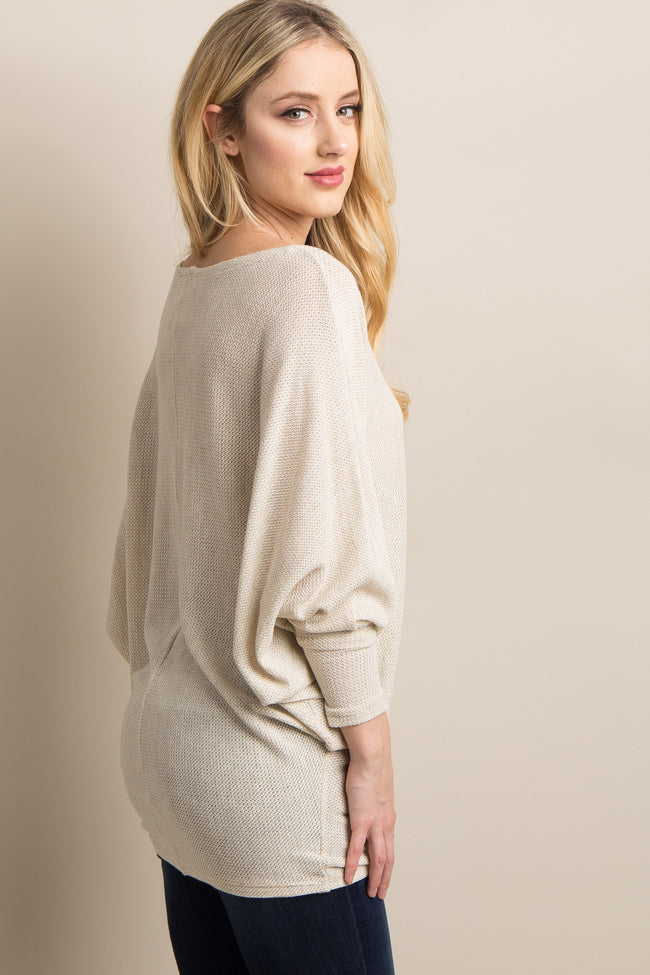 Beige Wide Neck Knit Dolman Sleeve Top