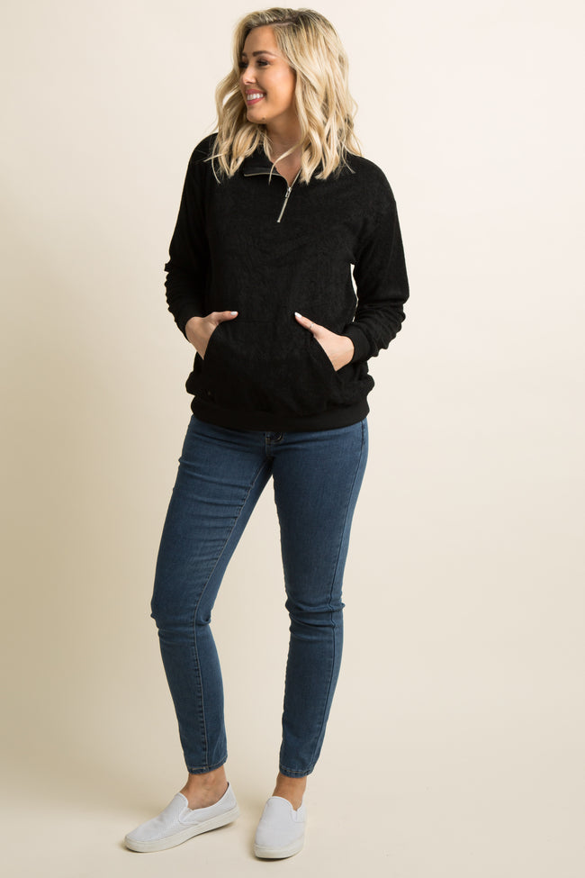 Black Zipper Front Terry Knit Maternity Top