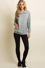 Grey Zipper Funnel Neck Terry Sweater
