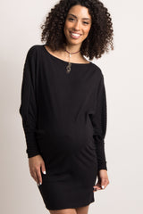 Black Solid Dolman Sleeve Ribbed Maternity Dress