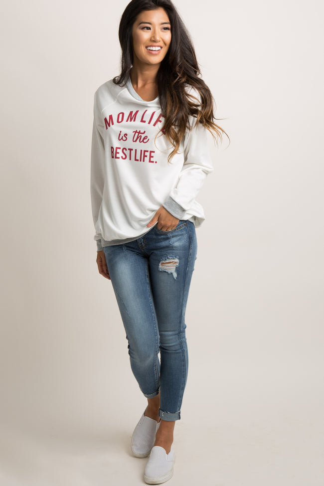"White Colorblock ""Mom Life Is The Best Life"" Graphic Top"
