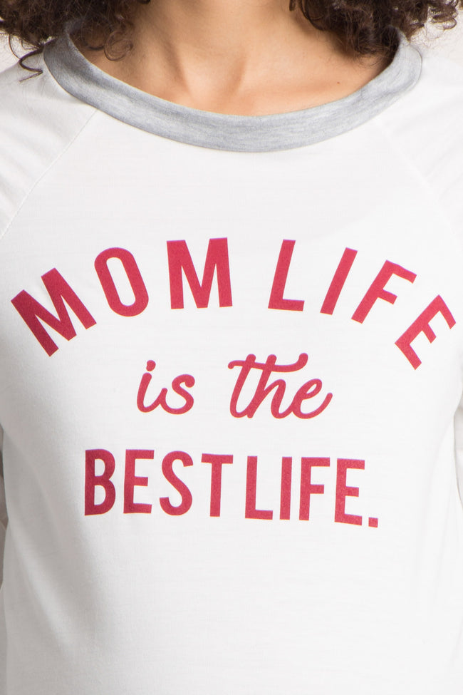 "White Colorblock ""Mom Life Is The Best Life"" Graphic Maternity Top"
