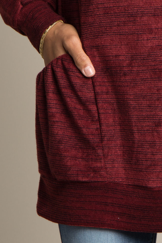 Burgundy Pocket Front Terry Top