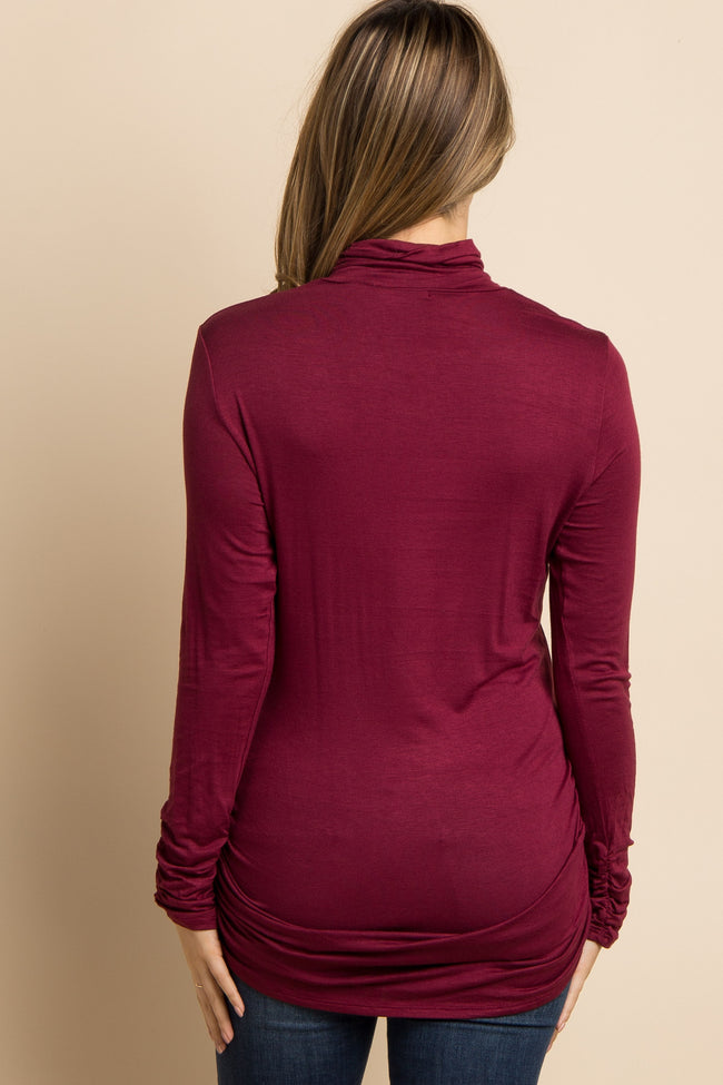 Burgundy Turtle Neck Ruched Maternity Top